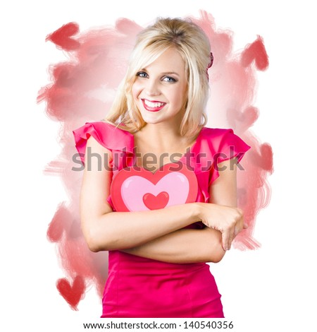 Smiling young blonde woman give a love heart hug when expressing feelings of affection. Hearts illustration background