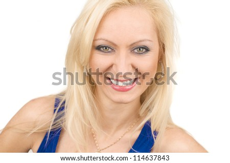 Smiling young blonde woman with cheerful expression isolated on white background