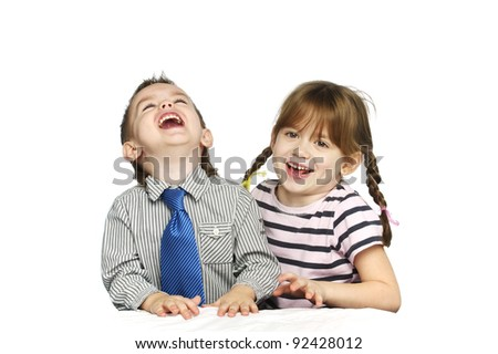 Smiling young brother and sister