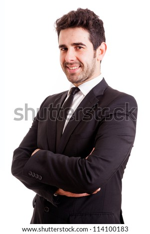 Smiling young business man isolated on white background