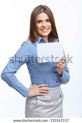 Smiling young business woman showing blank board, over white background isolated