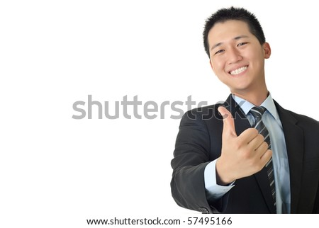 Smiling young businessman give you a excellent sin with copyspace on white.