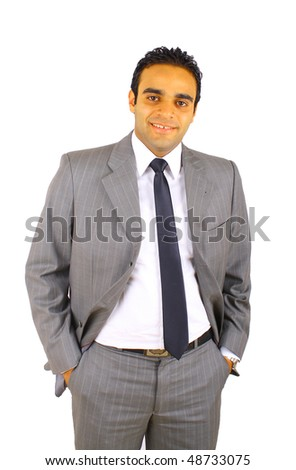 Smiling young businessman isolated on white