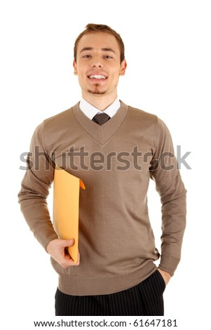 Smiling young businessmen man with documents. Isolated on white background.