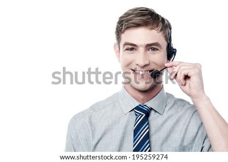 Smiling young call center executive