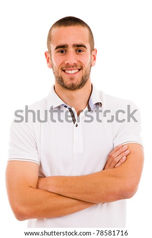smiling young casual man portrait, isolated on white