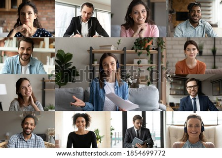 Smiling young caucasian businesswoman involved in video call conference business talk with diverse mixed race colleagues or female trainer giving educational lecture distant event to employees.