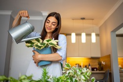 Smiling young Caucasian woman hold pot watering green plants in office or home, happy millennial female gardener or florist take care of domestic flowers, enrich cultivate ground, gardening concept