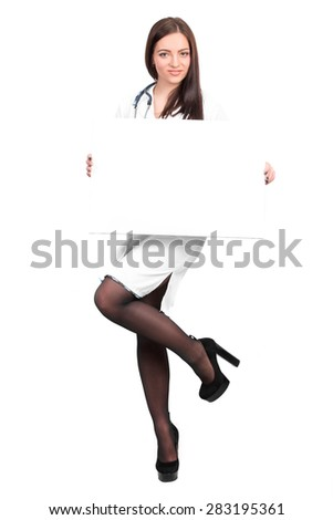 smiling young doctor with stethoscope showing clipboard with copy space for text or design. nurse holds an empty plate in hand