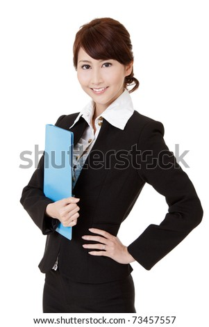 Smiling young executive woman of Asian holding file document, half length closeup portrait on white background.