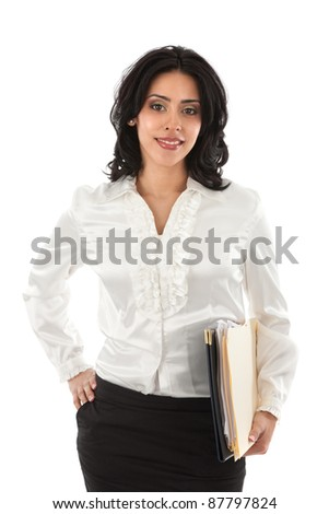 Smiling Young Hispanic Businesswoman Holding Paper Work on Isolated White