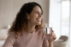 Smiling young Hispanic woman enjoy clean mineral water from glass for body refreshment. Happy Latino female drink clear pure mineral still water follow healthy lifestyle. Diet, habit concept.