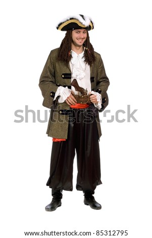 Smiling young man in a pirate costume with pistol