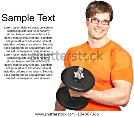 smiling young man raising dumbbell - isolated on white and space for own text