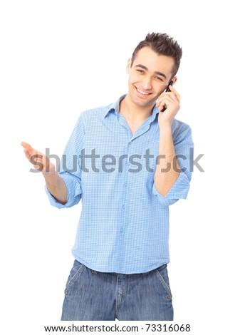 Smiling young man, wearing blue shirt, talking on mobile