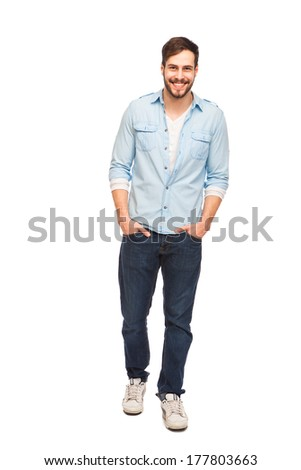 smiling young man with beard in a blue shirt on white background #177803663