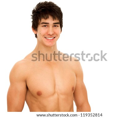 Smiling young man with muscular and tanned naked torso. Isolated on white.