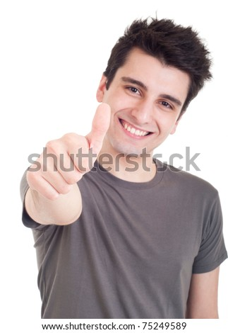 smiling young man with thumbs up (focus on hand) on an isolated white background