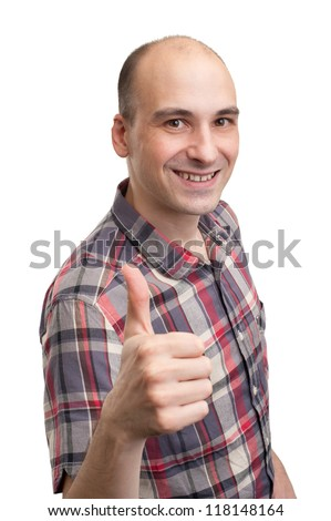 smiling young man with thumbs up isolated white background