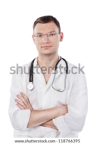 Smiling young medical doctor with stethoscope. Isolated over white background. Studio shot.