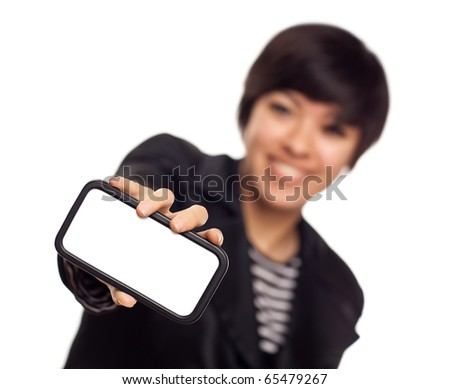 Smiling Young Mixed Race Woman Holding Blank Smart Phone Out - Focus is On the Phone Ready for Your Own Message.