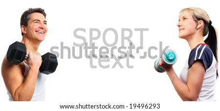 Smiling young strong  man amd woman. Isolated over white background