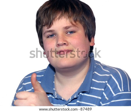 stock photo smiling young teen boy giving thumbs up on white background 87489 NET NASTY: Porn purveyor Hunter Moore appears on the Anderson Cooper show.