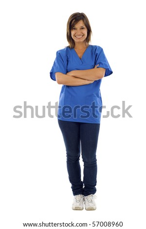 Smiling young woman health care worker standing isolated over white background