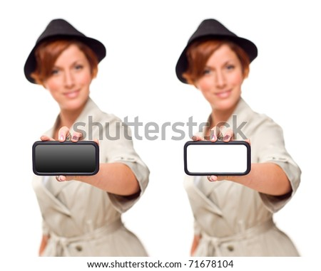 Smiling Young Woman Holding Blank White and Black Smart Phone Isolated on White.