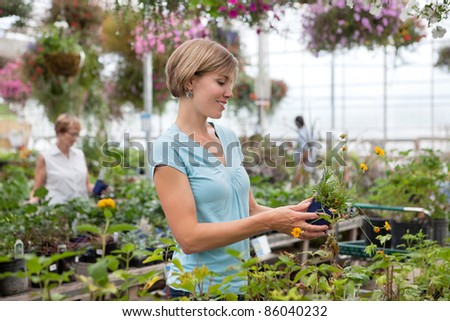 Smiling young woman holding flower pot