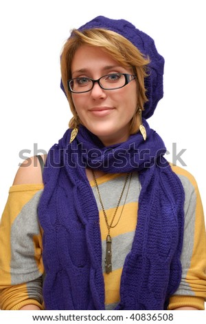 Smiling young woman in violet beret isolated over white