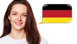 Smiling young woman near dialogue frame with german flag. Speak language concept.