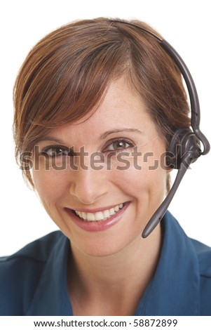 Smiling young woman telemarketer