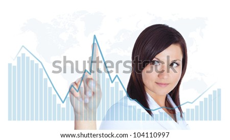 smiling young woman touching business chart over white background
