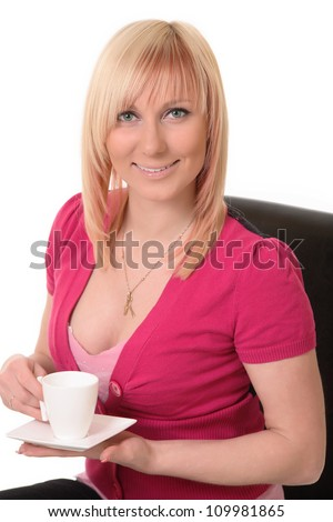 smiling young woman with a cup of