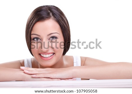 Smiling young woman with clear fresh skin