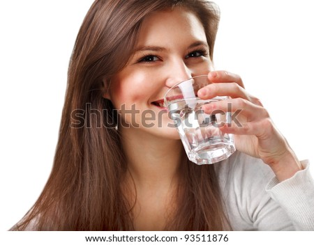 Smiling Young Woman with glass of Water
