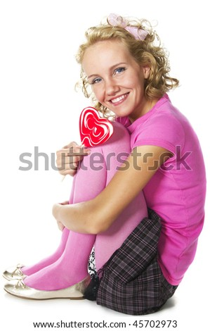 smiling young woman with lollipop