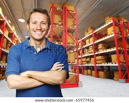 smiling young worker in 3d warehouse background - stock photo