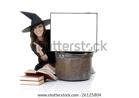 smilling witch with a big kettle makes promotion