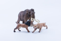 Smilodon saber-toothed roaring and attacking Big tusks Brown Mammoth toy
