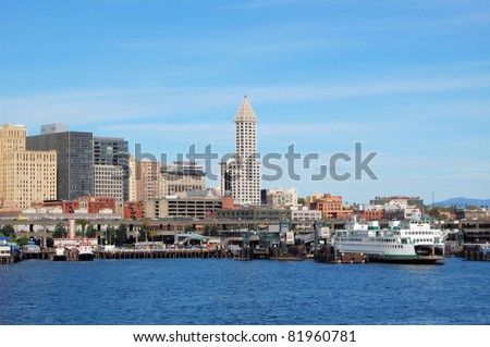 Smith Tower and Ferry Terminal in Seattle Downtown