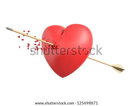 Smitten heart with a wooden arrow shedding little hearts in an isolated white background