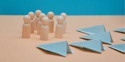 SMM development mockup. Social media platform. SEO optimization. Management team. Paper airplanes, wooden figures