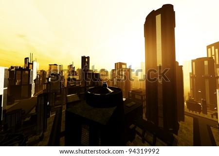 Smoggy Metropolis 3D render