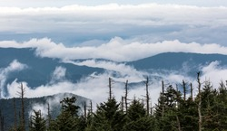 Smoke and fog over the landscapes o Great Smoky Mountain National Park.
