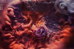 Smoke cloud background. Fantasy universe portal. Purple orange steam.