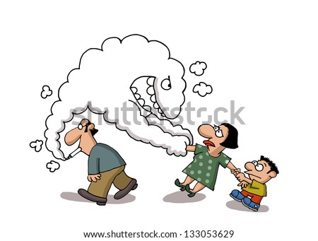 Smoke comes out from a man's cigarette pulls a lady