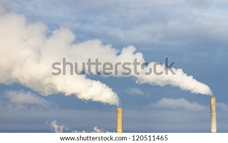 Smoke coming out of a stack at a powerplant