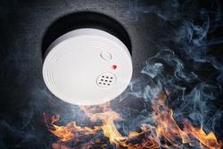 Smoke detector with flames and smoke